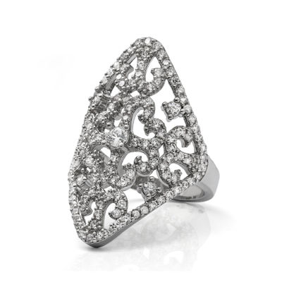 Cubic Zirconia Sterling Silver Filigree Ring