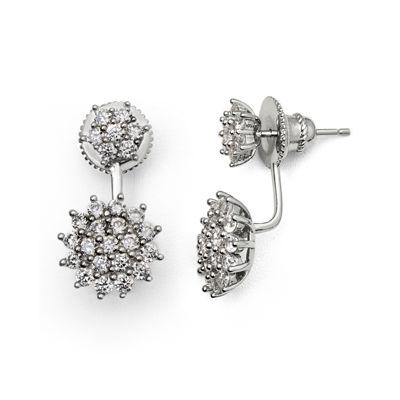 Cubic Zirconia Sterling Silver Starburst Earrings