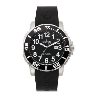 Croton Mens Black Rubber Strap Watch