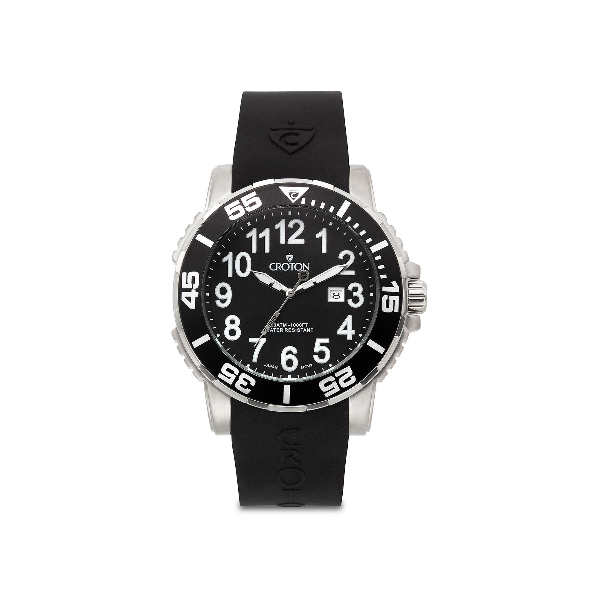 Croton Mens Black Rubber Strap Watch