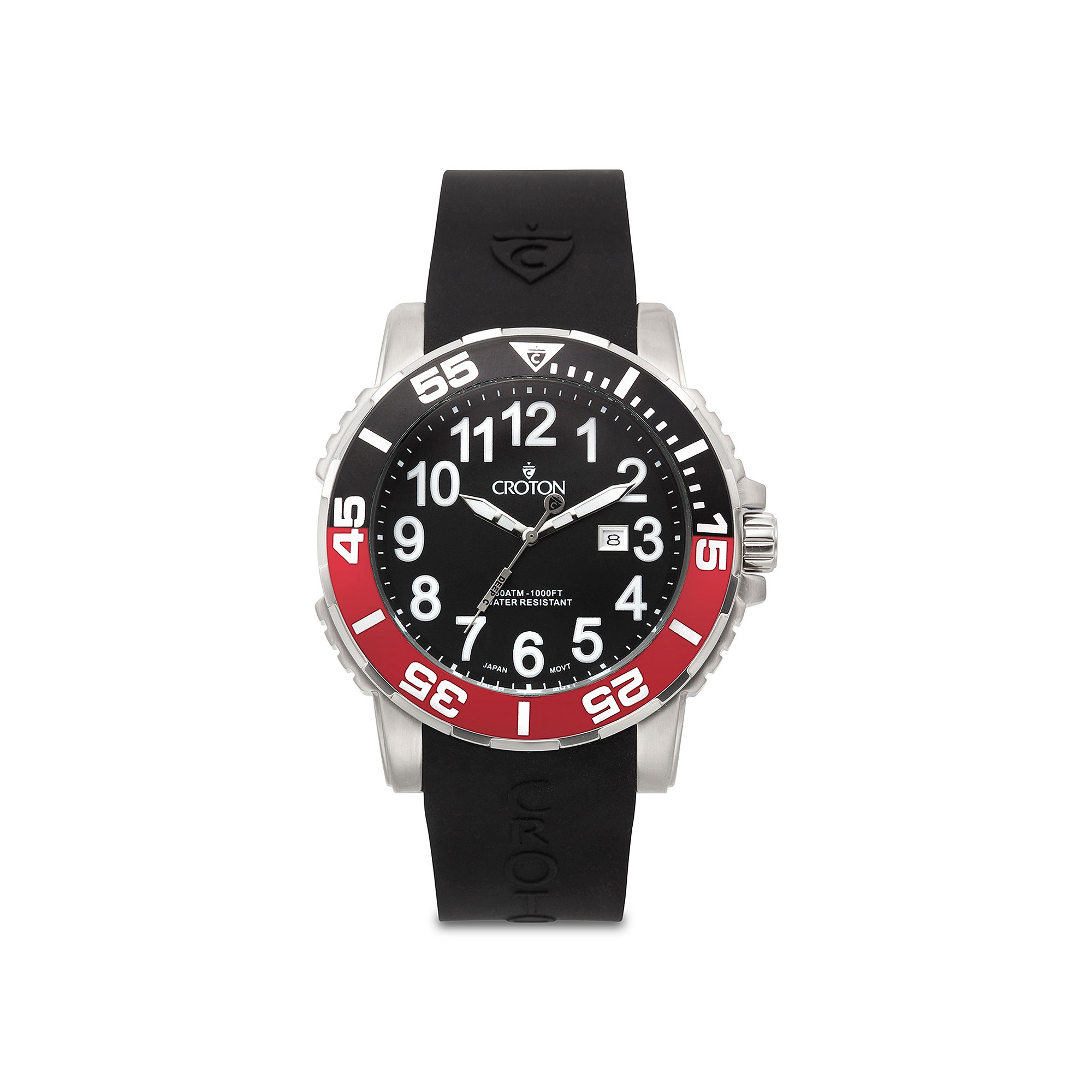 Croton Mens Red and Black Rubber Strap Sport Watch
