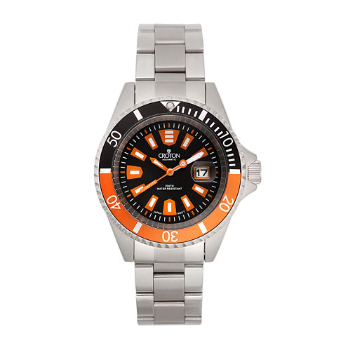 Croton Mens Orange and Black Stainless Steel Watch