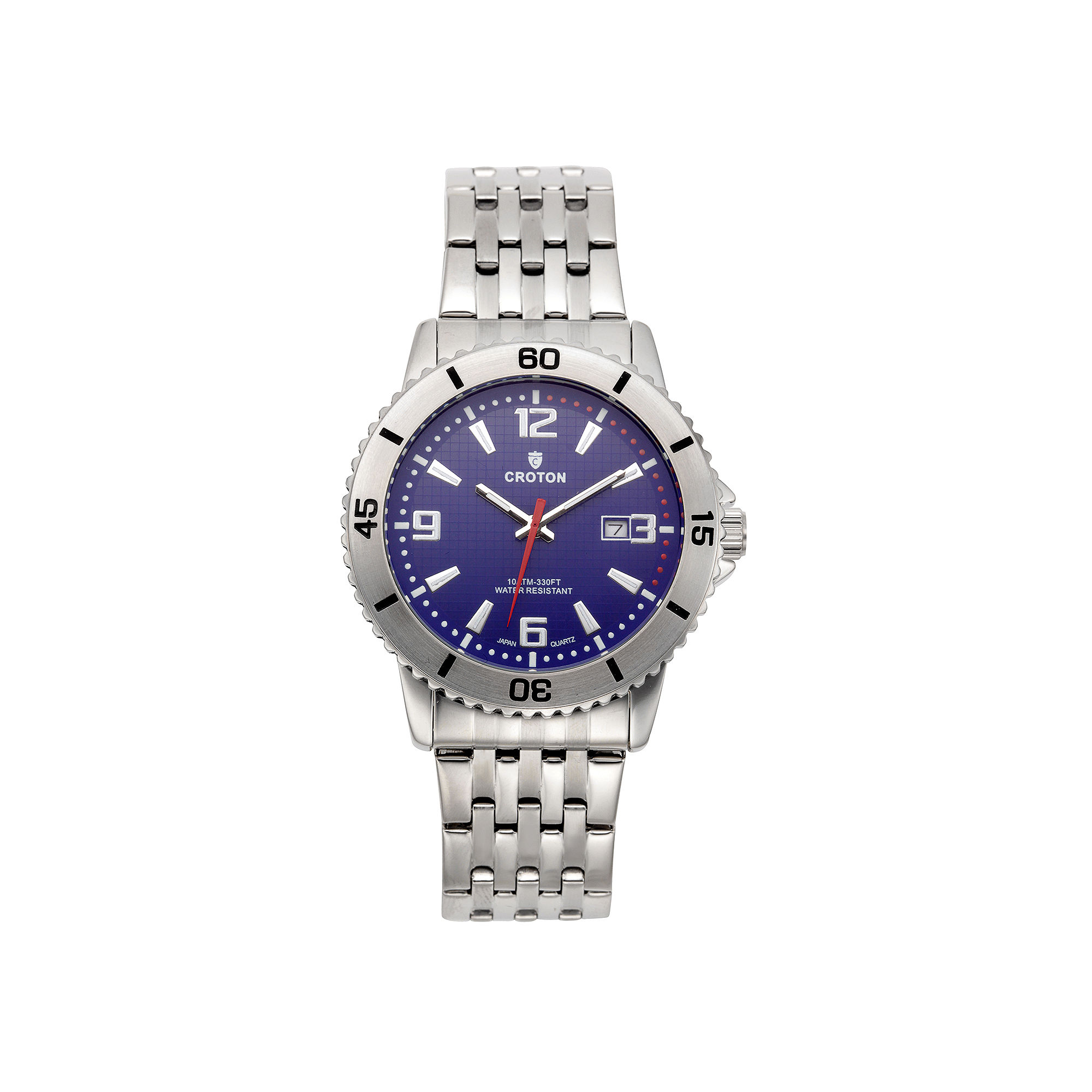 Croton Mens Blue Dial Stainless Steel Sport Watch
