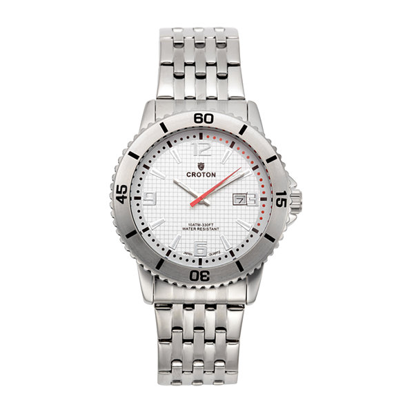Croton Mens White Dial Stainless Steel Sport Watch