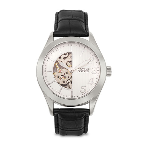 Croton Mens Black Leather Strap Skeleton Watch