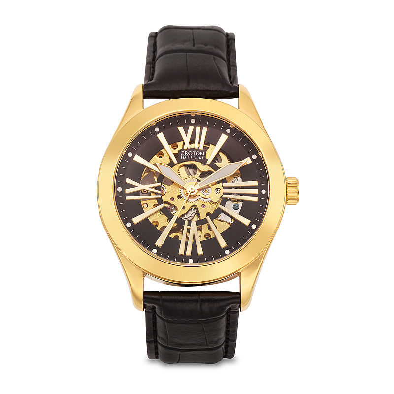 Croton Mens Gold-Tone and Black Leather Strap Skeleton Watch