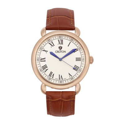 Croton Mens Rose-Tone Stainless Steel Brown Leather Strap Watch