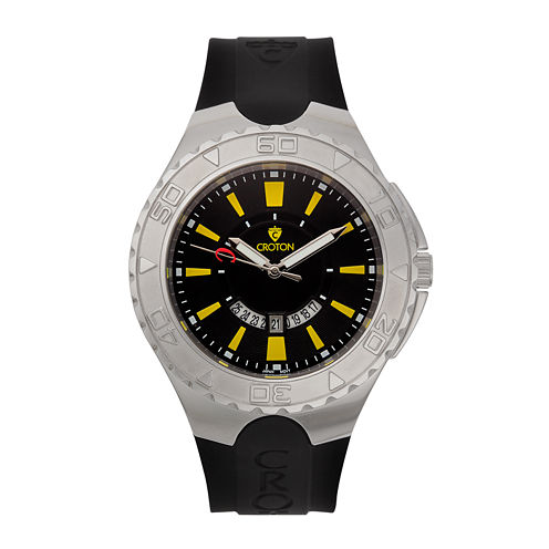 Croton Mens Black and Yellow Stainless Steel Watch