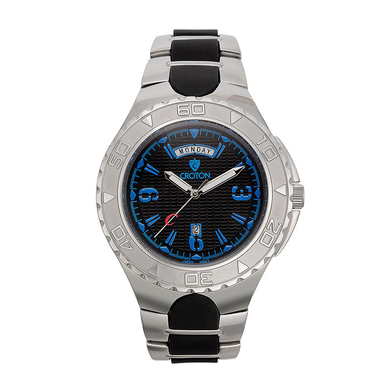 Croton Mens Black and Blue Two-Tone Stainless Steel Watch