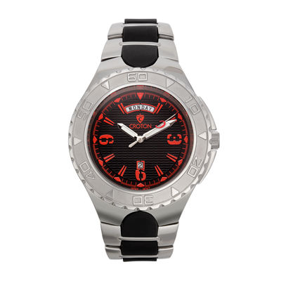 Croton Mens Black and Red Two-Tone Stainless Steel Watch