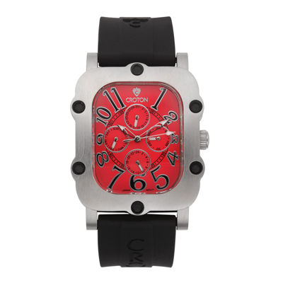 Croton Mens Red Dial and Black Strap Watch