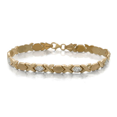 Crystal 14K Yellow Gold Over Sterling Silver Stampato Bracelet