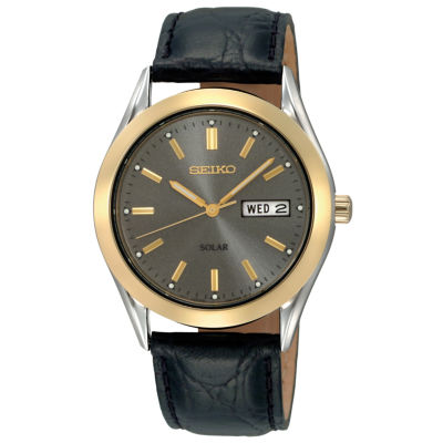 Seiko® Mens Black Leather Strap Solar Watch SNE050