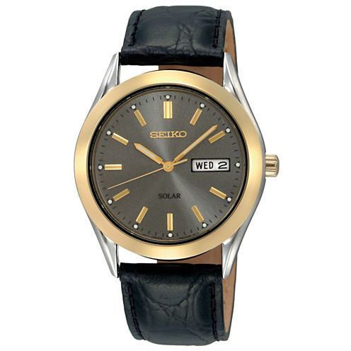 Seiko® Mens Black Leather Strap Solar Watch SNE050