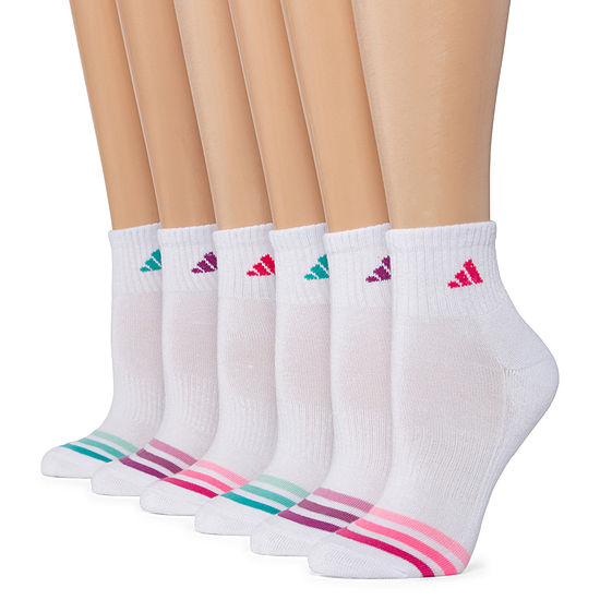 Adidas 6 Pack Cushion Quarter Socks -Womens