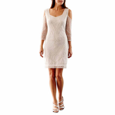 MSK Cold Shoulder Sequin Wedding Dress