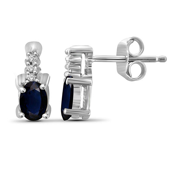 Diamond Accent Genuine Blue Sapphire Sterling Silver 8.6mm Stud Earrings