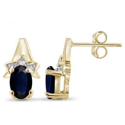 Diamond Accent Genuine Blue Sapphire 14K Gold Over Silver 11.8mm Stud Earrings