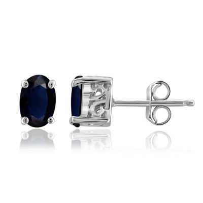 Genuine Blue Sapphire Sterling Silver 6.1mm Stud Earrings