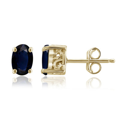 Genuine Blue Sapphire 14K Gold Over Silver 6.1mm Stud Earrings