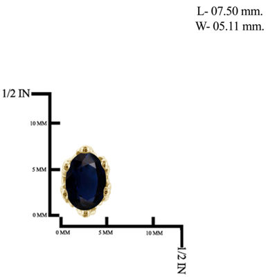 Genuine Blue Sapphire 14K Gold Over Silver 7.3mm Stud Earrings