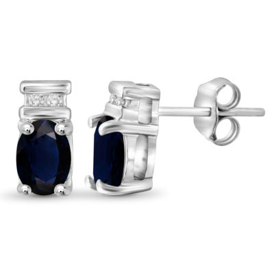 Diamond Accent Genuine Blue Sapphire Sterling Silver 8.8mm Stud Earrings