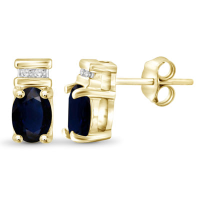 Diamond Accent Genuine Blue Sapphire 14K Gold Over Silver 8.8mm Stud Earrings