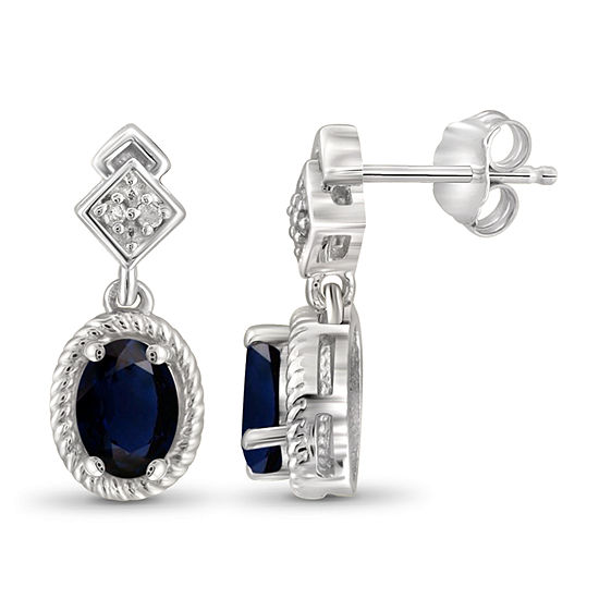 Diamond Accent Genuine Blue Sapphire Sterling Silver 17.4mm Stud Earrings