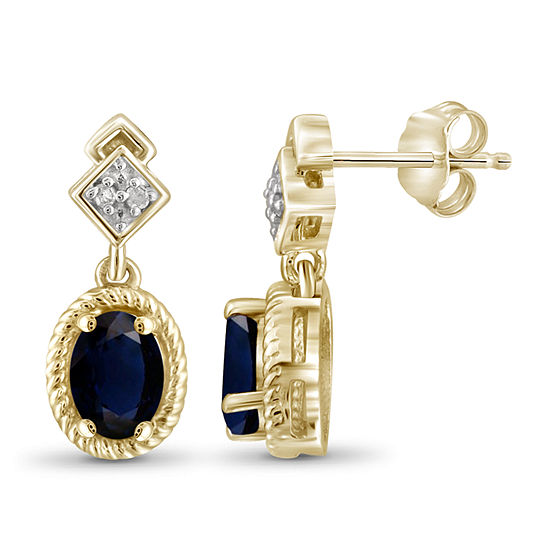 Diamond Accent Genuine Blue Sapphire 14K Gold Over Silver 17.4mm Stud Earrings
