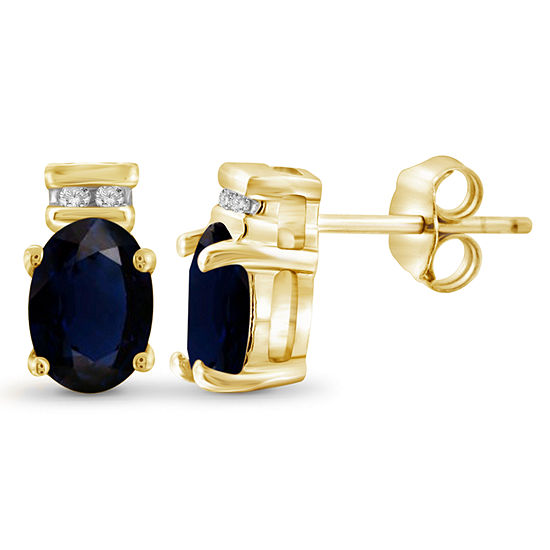 Diamond Accent Genuine Blue Sapphire 14k Gold Over Silver 88mm Stud Earrings