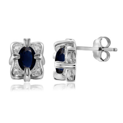 Diamond Accent Genuine Blue Sapphire Sterling Silver 10.1mm Stud Earrings