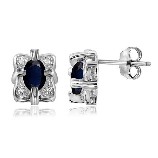 Diamond Accent Genuine Blue Sapphire Sterling Silver 10.1mm Stud Earrings
