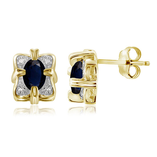 Diamond Accent Genuine Blue Sapphire 14K Gold Over Silver 10.1mm Stud Earrings