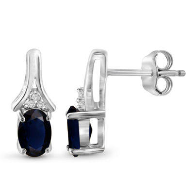 Diamond Accent Genuine Blue Sapphire Sterling Silver 12.6mm Stud Earrings