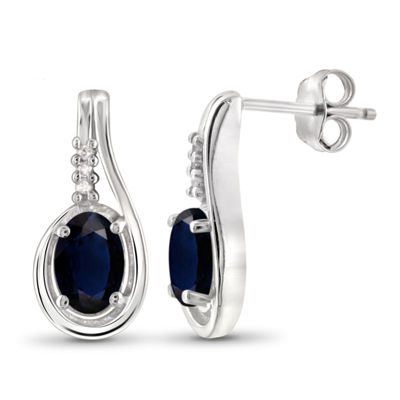 Diamond Accent Genuine Blue Sapphire Sterling Silver 14.7mm Stud Earrings