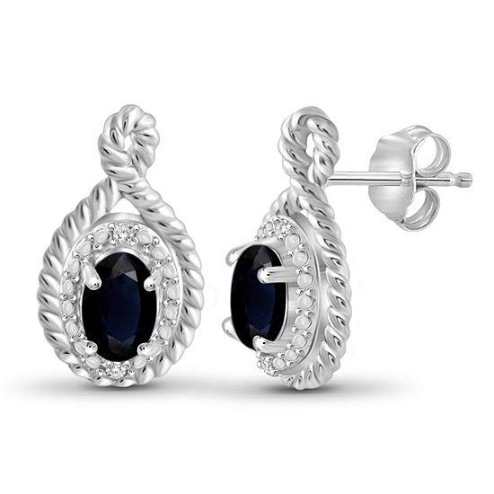 Diamond Accent Genuine Blue Sapphire Sterling Silver 16.1mm Stud Earrings
