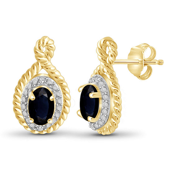Diamond Accent Genuine Blue Sapphire 14K Gold Over Silver 16.1mm Stud Earrings