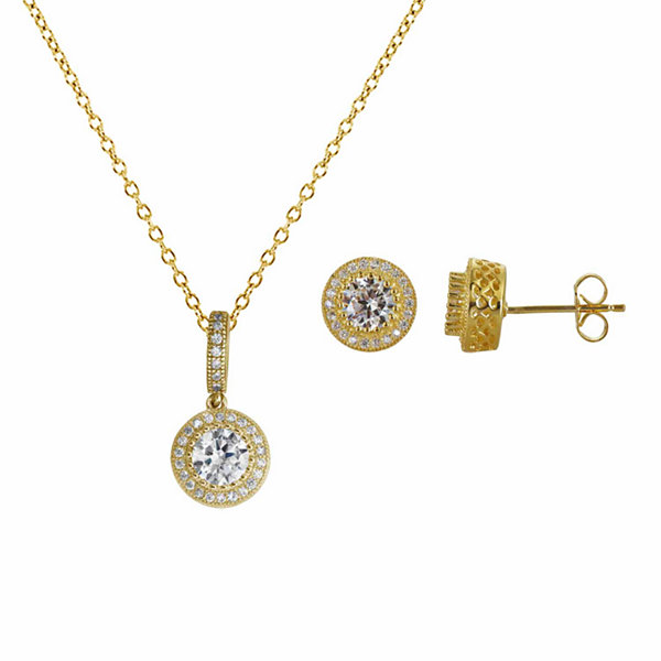 Womens 3-pc. 3 1/2 CT. T.W Cubic Zirconia 14K Gold Over Silver Jewelry Set