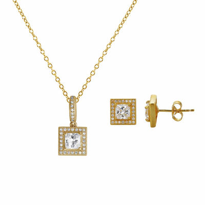 Womens 2-pc. 4 CT. T.W. Cubic Zirconia 14K Gold Over Silver Jewelry Set