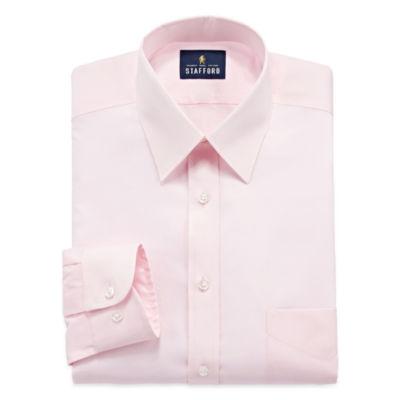 Stafford Comfort Stretch Long Sleeve Woven Pattern Dress Shirt