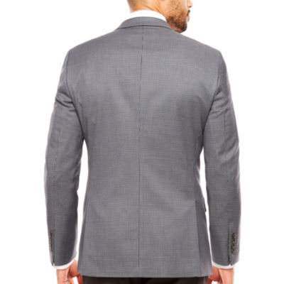 Stafford Stretch Year Round Gray Navy Houndstooth Sport Coat