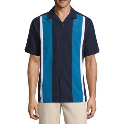Havanera Short Sleeve Color Panel Button-Front Shirt