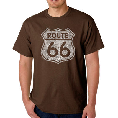 Los Angeles Pop Art Cities Along the Legendary Route 66 Short Sleeve Word Art T-Shirt - Big and Tall