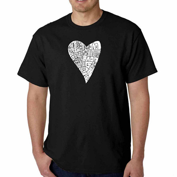 Los Angeles Pop Art Lots of Love Short Sleeve WordArt T-Shirt - Big and Tall