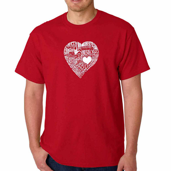 Los Angeles Pop Art Love in 44 Different LanguagesShort Sleeve Word Art T-Shirt - Big and Tall