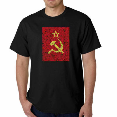 Los Angeles Pop Art Lyrics to the Soviet NationalAnthem Short Sleeve Word Art T-Shirt - Big and Tall