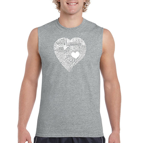 Los Angeles Pop Art Sleeveless Crew Neck T-Shirt-Big and Tall