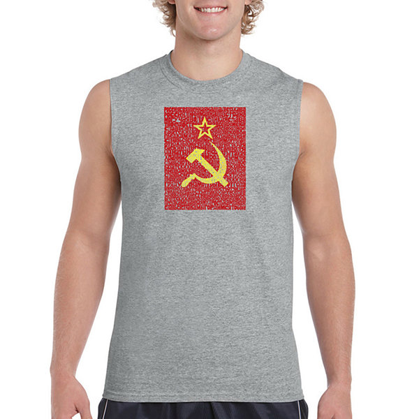 Los Angeles Pop Art Men's Lyrics to the Soviet National Anthem Sleeveless T-Shirt - Big and Tall