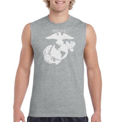 Los Angeles Pop Art Men's Lyrics to the Marines Hymn Sleeveless T-Shirt - Big and Tall