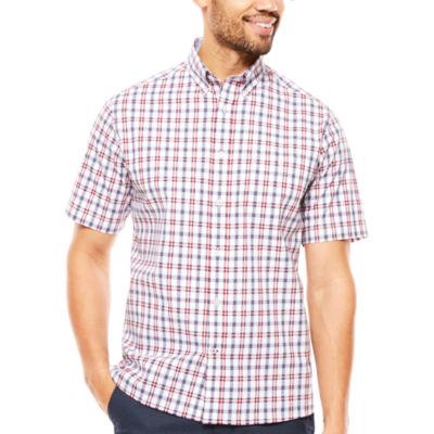 ARGYLECULTURE Short Sleeve Plaid Button-Front Shirt